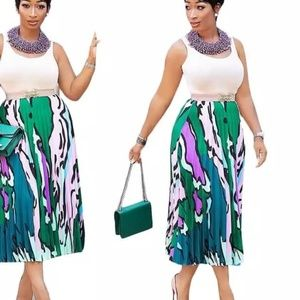 Digital Print Pleated Skirt